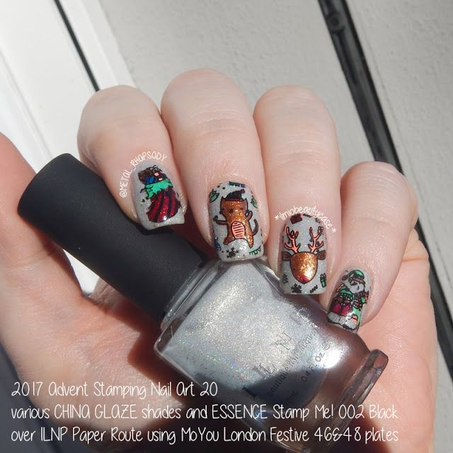 435 best my nails nail art manis images on pinterest 2017 nail art stamping calendar 20 xmas party prinsesfo Image collections