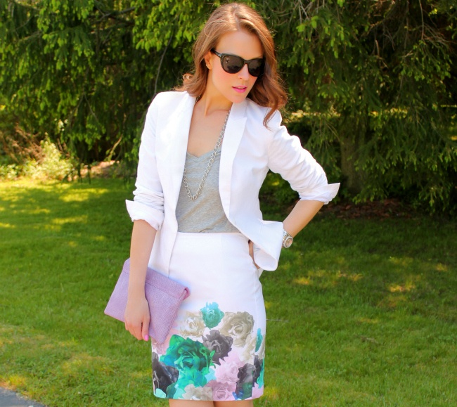 Penny Pincher Fashion: Coming Up Roses: H M Blazers, Floral Skirts, White Blazers, H M Skirts, Clutches, Pincher Fashion, Fashion Lookbook, Www Pennypincherfashion Com, Asos Bags