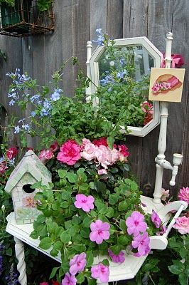 I see these Old Washstands in Yard Sales all the time .. How CuTe :)  green container garden