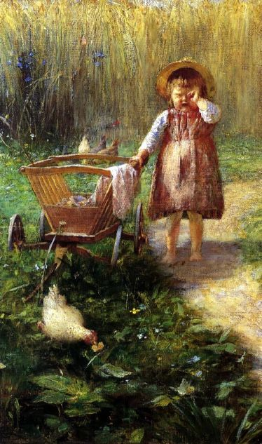 Child With A Cart by Greek artist Georgios Lakovidis