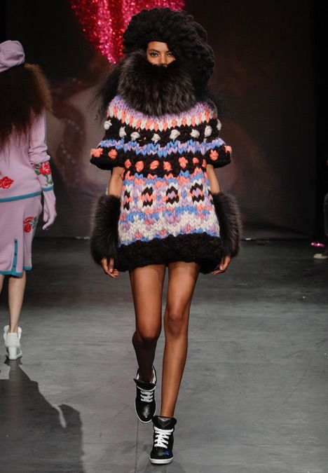 The Natural Blonde by SISTER by Sibling - love this outrageous mixture of fur and oversized knitting - the palette is really synthetic and blingy... perhaps oversized knitwear is where it's at?