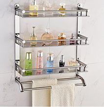 Paslanmaz çelik banyo raflar kozmetik raflar çok fonksiyonlu çift kanca rafları havlu rafları (B-0277)