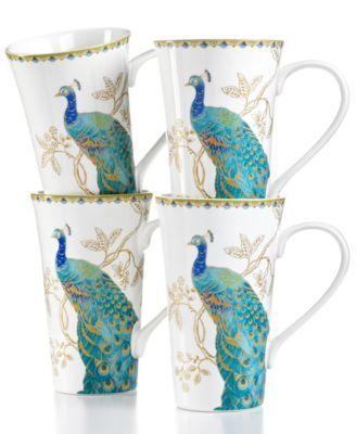 222 Fifth Dinnerware, Set of 4 Peacock Garden Latte Mugs