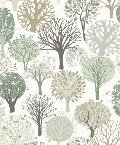 Vit tapet med trädkronor i grått och grönt