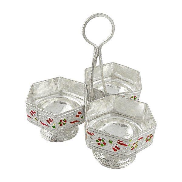 Jpearls Pure Silver Meenakari Chopra in 50 Grams | Silver Accessories for Pooja