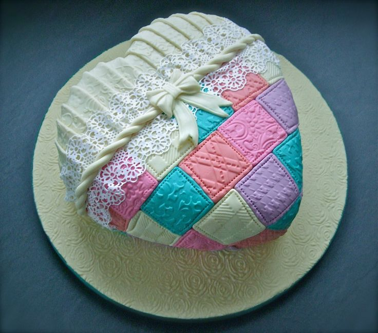 Birthday Cakes - patchwork lace heart cake