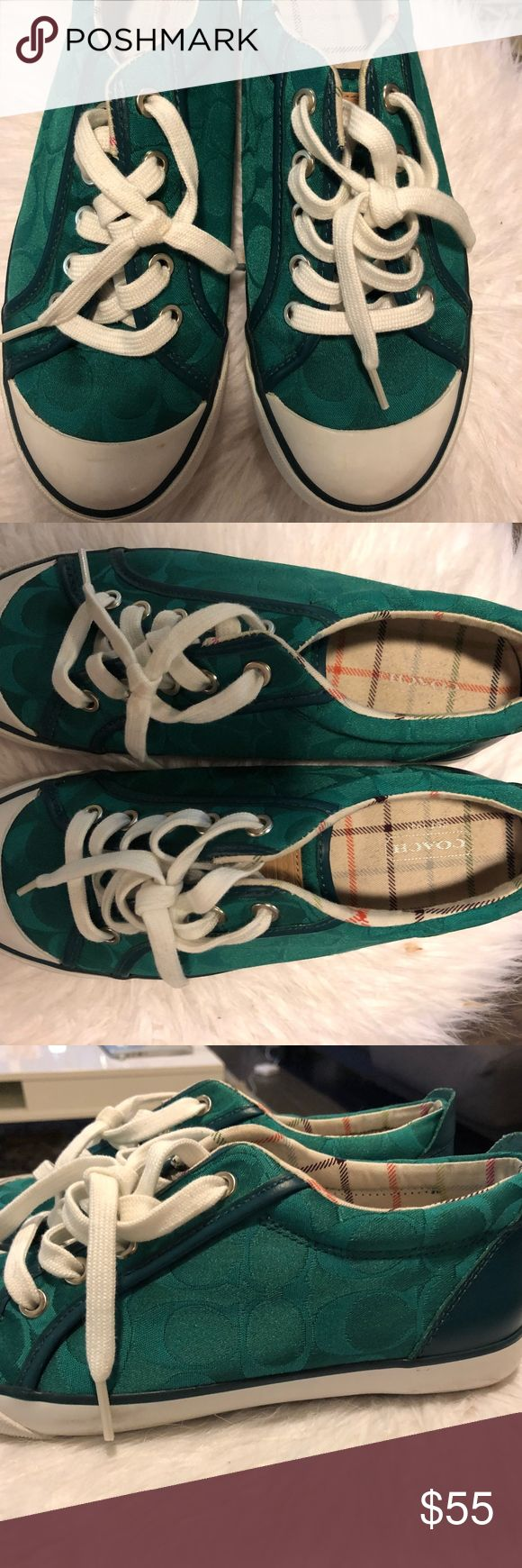 Coach Tennis Shoes Teal / Blue 7.5 Coach Tennis Shoes Teal / Blue size 7.5 minor scratches on sole that you can see in pictures but it VERY good condition! Coach Shoes Athletic Shoes