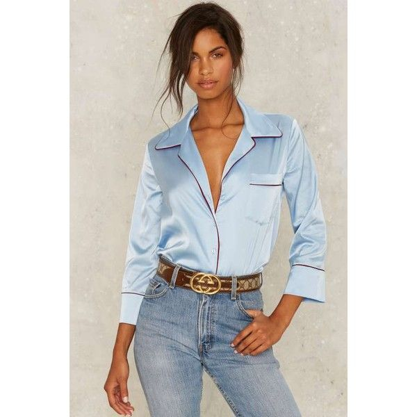 Peace Pipe Satin Blouse ($58) ❤ liked on Polyvore featuring tops, blouses, blue, satin top, collar blouse, blue satin blouse, button front blouse and satin blouse