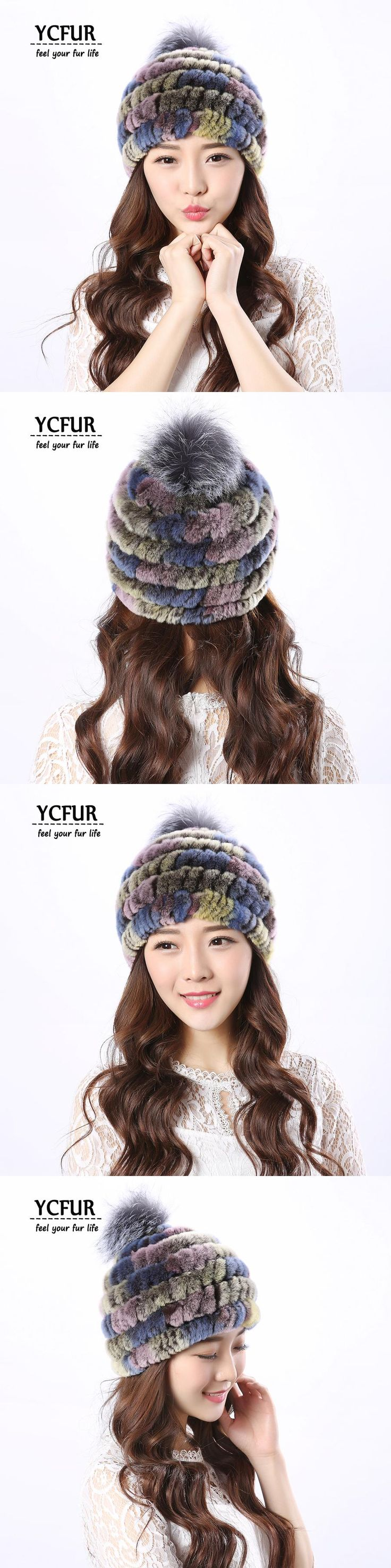 YCFUR Women Caps Hats Winter Autumn Knit Real Rex Rabbit Fur Hats With Silver Fox Fur Pom Pom Hat Beanie For Girls