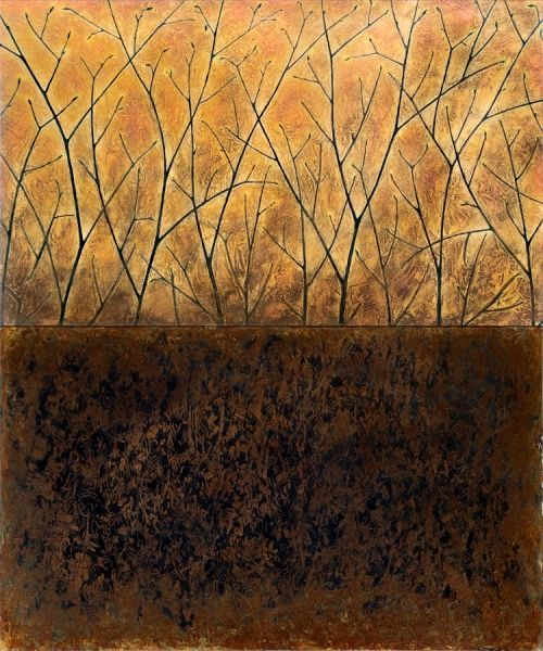 Karin Schminke  -- Copse 2, Pigment Ink and acrylics on Aluminum Panel