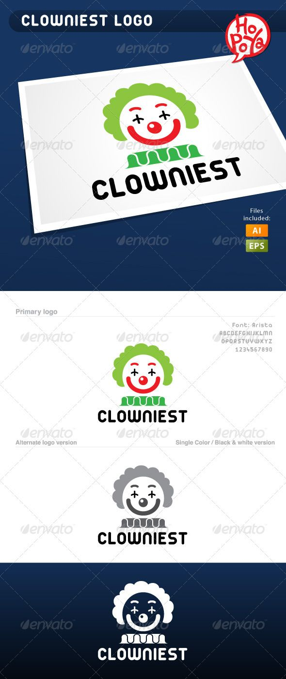 Clowniest Logo  #GraphicRiver         Clowniest logo template for your business works.  Layered files, 100% vector.  Font used: Arista  You can find it here:  .dafont /arista.font?text=CLOWNIEST  Files are EPS8 and AICS2 compatible and editable.     Created: 9September12 GraphicsFilesIncluded: VectorEPS #AIIllustrator Layered: Yes MinimumAdobeCSVersion: CS2 Resolution: Resizable Tags: ai #black #business #circus #clown #comic #company #design #eps #event #funny #green #joker #logo #party…