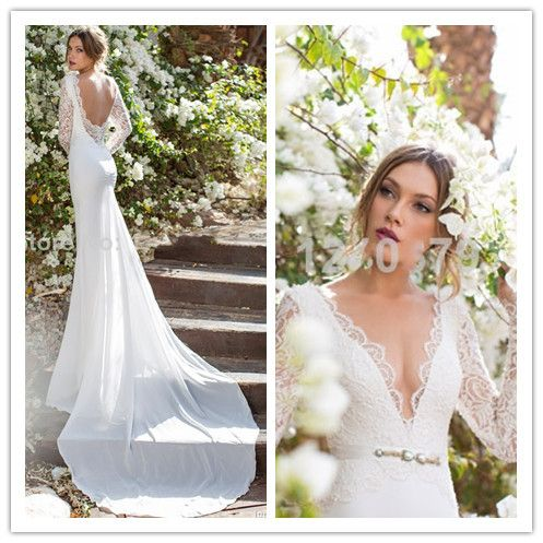 v neck cap sleeve top beads corset long chiffon floor length with train pnina tornai sexy backless wedding dress 2014