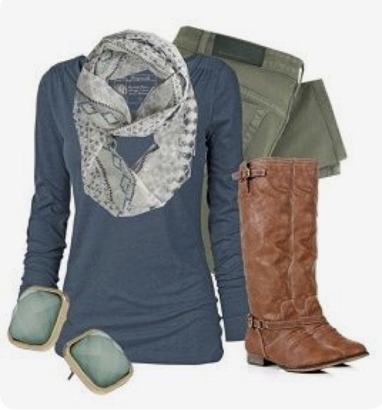 I love all of this!! I would try the scarf because it goes so well, I already have similar boots and the jeans would definitely be a new color for me!