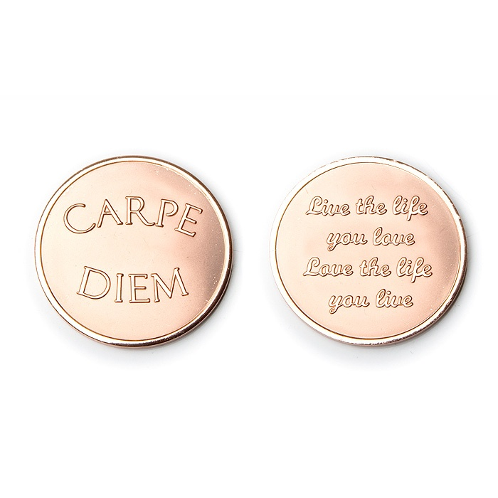 Mi Moneda munt  Artikelnummer: Love - Carpe Diem rose   Dames sieraad    Small MON-CAR-03-S € 12,50 Medium MON-CAR-03-M € 15,00 Large MON-CAR-03-L € 17,50      € 12,50  Select Currency Euro Pound