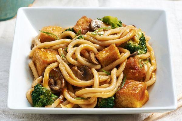 Crispy Tofu Stir-Fry with Udon Noodles, Really good!!