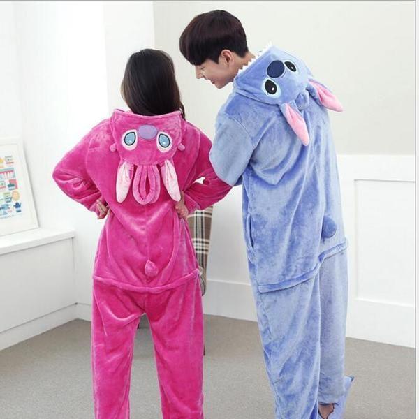 Lilo And Stitch Pajamas Anime Cosplay Costume Winter Flannel Hoodie Pajamas Adult Blue Pink Stitch Onesie Stitch Pajamas We always strive to provide customers w