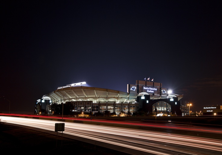 Bank of America Stadium at Night Home of Carolina Panthers Football