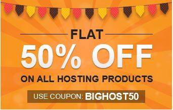 Flat 50% Off on Hosting‎  http://www.bigrock.in/?a_aid=5401c1f0aa4e2 Web Hosting Starts as Low as Rs 50. 99.9% Uptime. 24x7 Tech Support. Read Bigrock reviews- http://goo.gl/hzWyKS