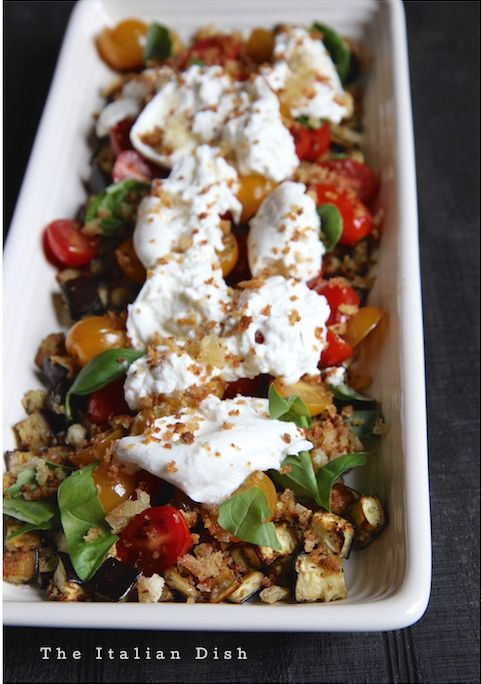 The Italian Dish - Posts - Appetizer of Eggplant, Tomato and Burrata with Anchovy Breadcrumbs
