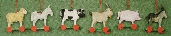 Six Tame Animals on Wheels German Wooden Ornaments
