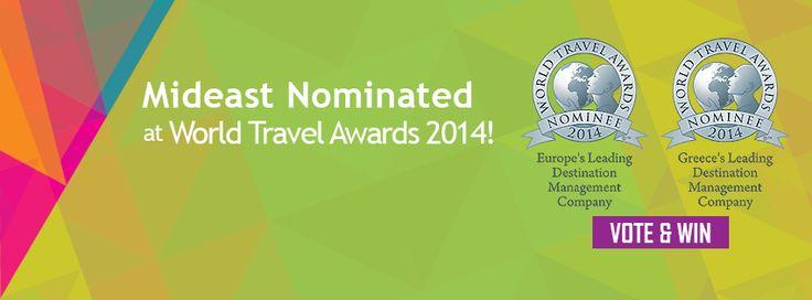 """Ψηφίστε τη Mideast στα World Travel Awards και κερδίστε! Για 2η χρονιά η Mideast, είναι υποψήφια για τα «Όσκαρ» της ταξιδιωτικής βιομηχανίας """"World Travel Awards""""! Φέτος συμμετέχουμε σε δύο κατηγορίες βραβείων: Greece's Leading Destination Management Company 2014 Europe's Leading Destination Management Company Name 2014 ηφίστε και εσείς τη Mideast και κερδίστε: 2αεροπορικά εισιτήρια μετ' επιστροφής σε θέση Pearl Class !!! (ευγενική χορηγία της Etihad Airways)  http://goo.gl/y9jEmB"""