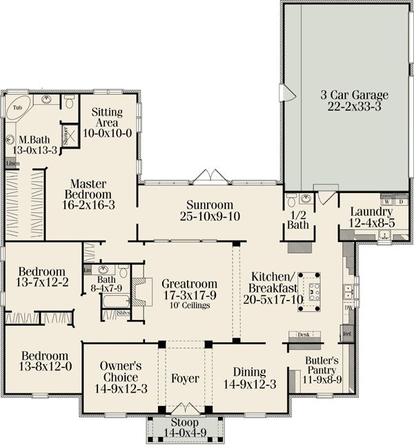Plan W62092V: Southern House Plans & Home Designs. Probably the best deduction of the floor plan I would want for my house. I'd want their to be sliding doors between the sunroom and great room though.