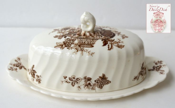 Vintage English Brown Transferware Covered Butter Dish Bountiful Victo