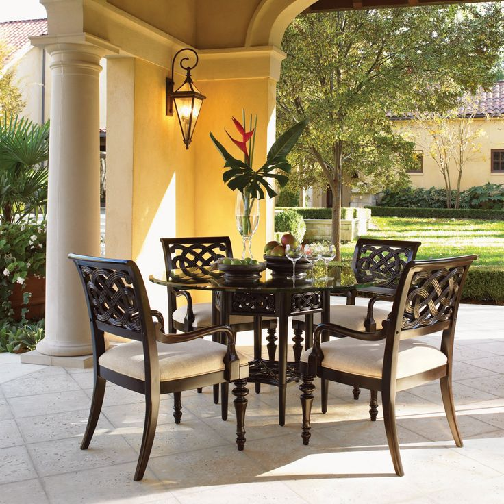 Tommy Bahama Royal Kahala 5 Piece Sugar and Lace 54 in. Glass Dining Table Set - LEX545