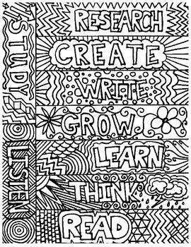 I have designed these library-themed bookmarks with words and patterns children will love to color.  Print them on cardstock, 9 to a page, each one unique.  Use them as a station or as a reward, in the classroom or the library.