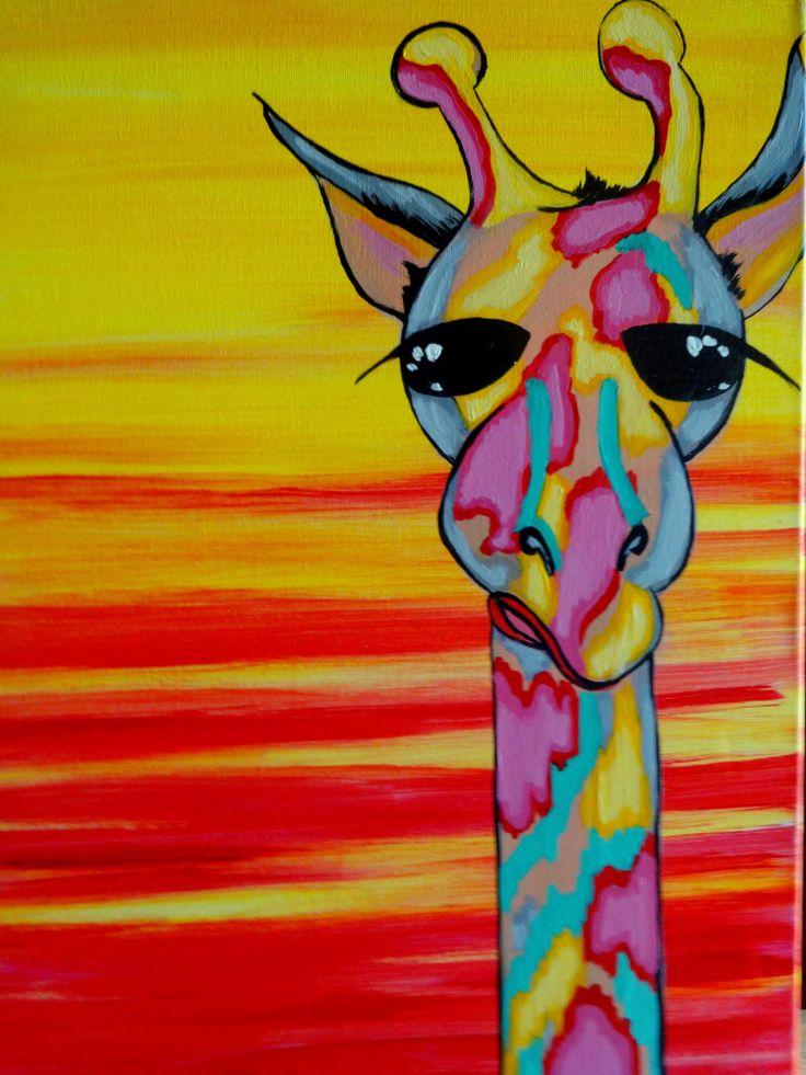Jolly Giraffy at Dusk  at Pinot's Palette - Woodlands