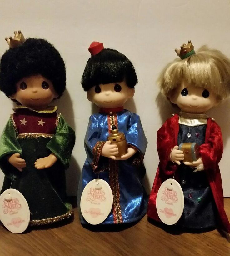 "Beautiful Precious Moments Co. Dolls 3 Wise Men with Gifts and Crowns each with tags and Names Balthar is missing gift Gasper Melchoir All 9"" Tall Set For Nativity Scene Collection 1998 Great Condition 