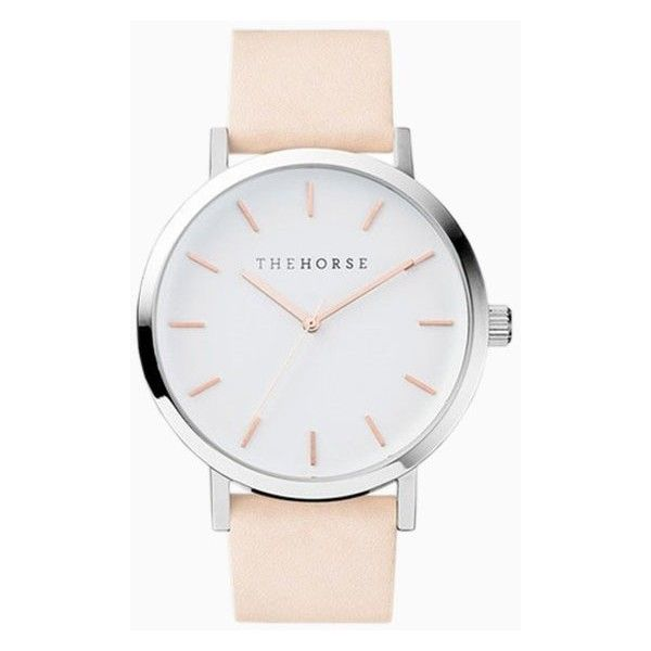 The Horse Vegetable Tan Rose Gold Index Watch found on Polyvore