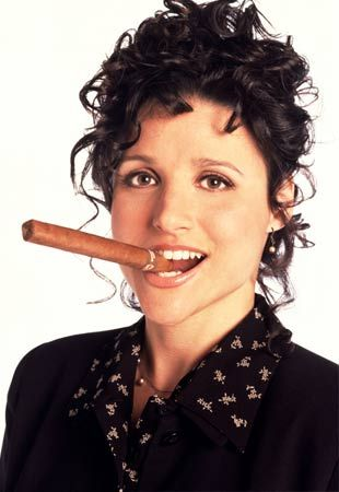 The one and only Elaine Benes, Queen of Confrontation, as portrayed by Julia Louis-Dreyfus. I love her on Veep also. :)