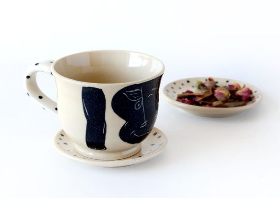 Pottery Cappuccino Cup and Saucer / Bull Collection / Coffee Mug / MADE TO ORDER
