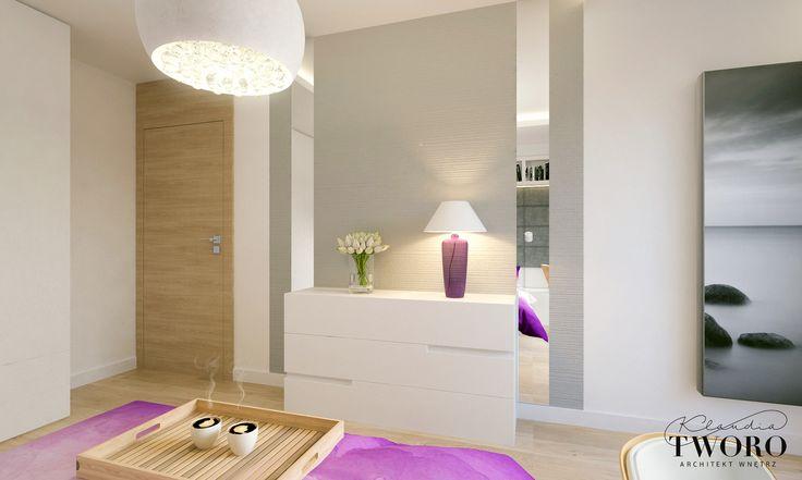 Sypialnia fioletowa, tapicerowany zagłówek, nowoczesna sypialnia biała