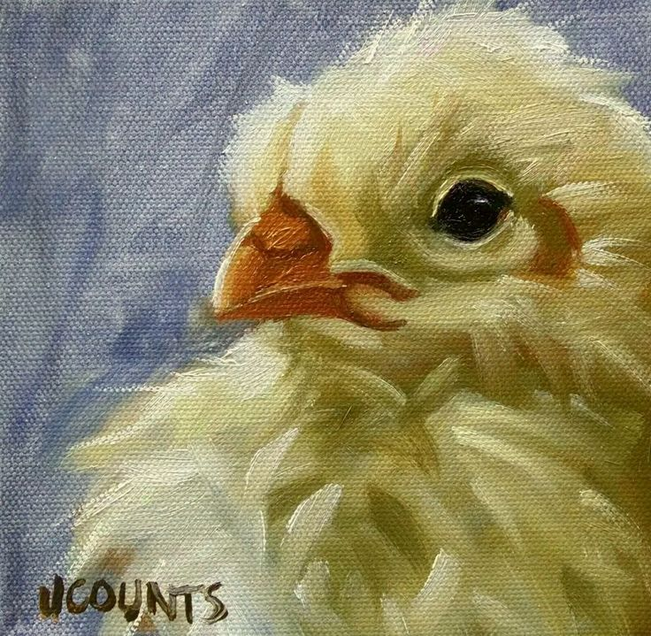 "KYLE BUCKLAND JENN COUNTS FARM ART BABY CHICKEN  CHICK ANIMAL OIL PAINTING A DAY Impressionism FINE ART WALL ART DECORATION HOME OFFICE DECOR INTERIOR DECOR SPRING EASTER BABY CHICK CHICKS CHICKEN COLLECTIBLE "" Peep "" 6""x6"""