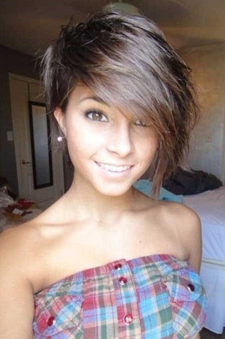 8. Adorable | Short Haircut with Long Bangs for Girls /tumblr | 22 Best Short Hairstyles For 2015