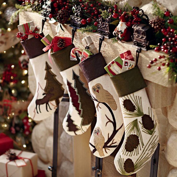 Add charm to a mantel with Alpine stockings. #holidays