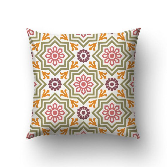 Modernist Throw Pillow Barcelona Tiles Modernist by Macrografiks