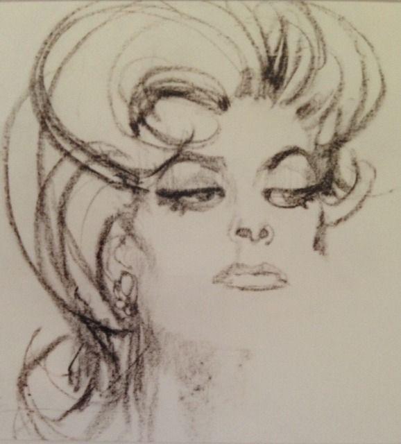 Greek Actress Melina Mercouri - Drawing/illustration art by Bob Peak