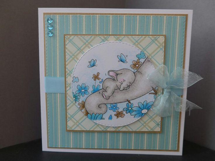 Wild rose studio baby boy card using Bella Sleeping stamp