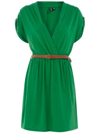 $20 green dress. So cute this fall with a denim jacket and brown boots!