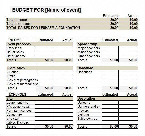 fundraiser event budget template cheapfundraisingideas cheap