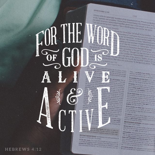 """""""For the word of God is alive and powerful. It is sharper than the sharpest two-edged sword, cutting between soul and spirit, between joint and marrow. It exposes our innermost thoughts and desires."""" Hebrews 4:12 NLT http://bible.com/116/heb.4.12.nlt"""
