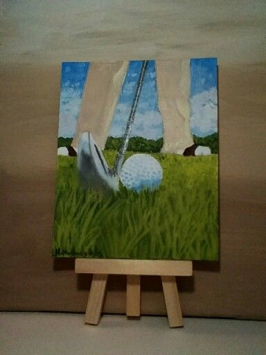 4x5 acrylic painting titled Tee Time...golf.