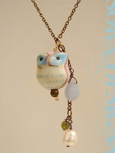 Porcelain owl charm by soradesigns