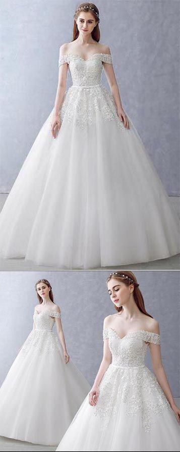 #White Off-the-Shoulder Ball Gown Beads Sweetheart Floor-Length Wedding Dress,#BridalDress,#GorgeousWeddingGowns