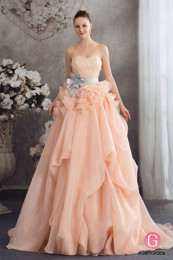 Cascading Ruffles Colored Two Tone Organza Wedding Dress With Sash Oph1237 349 9 Gemgrace In 2018 Dresses