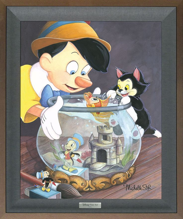 Pinocchio - A Kiss from Cleo - Jiminy Cricket - Michelle St. Laurent - World-Wide-Art.com - #disney #disneyfineart #silverseries #michellestlaurent #pinocchio #jiminycricket