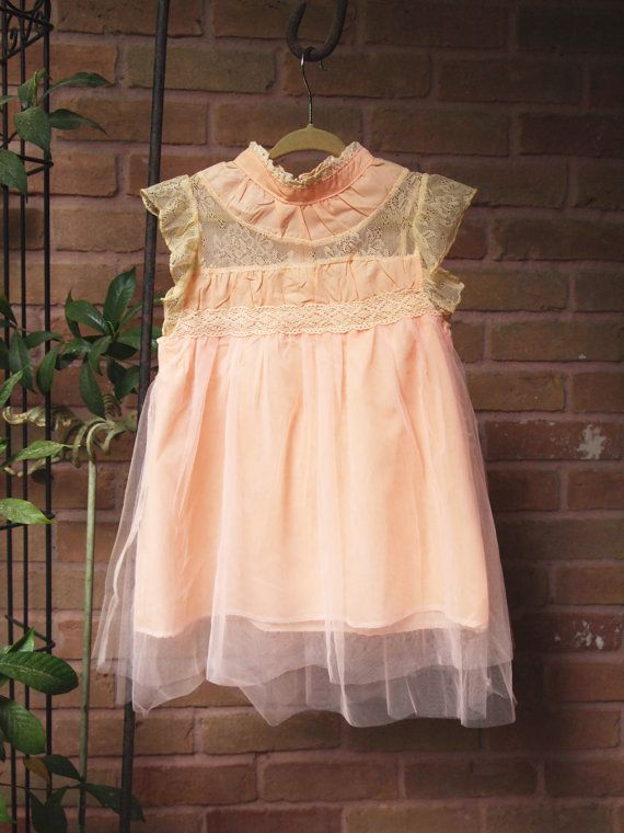 Mädchen Kleinkind Jahrgang viktorianischen inspiriert Tüll Prinzessin Kleid, Tüll und Spitze-Rüsche Ärmel Pfirsich Kleid, Frühling Sommer Jahrgang trendige Kleid